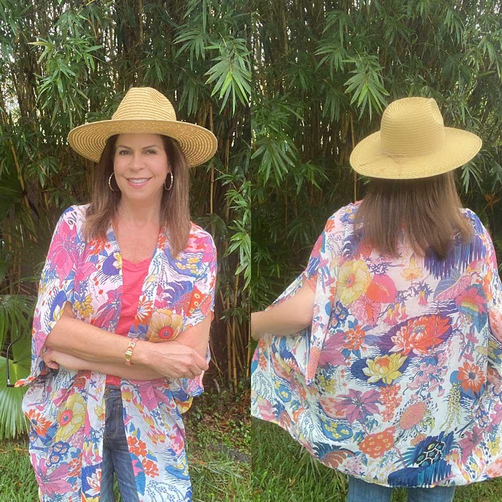 Summertime kimono, bathing suit cover up, versatile, layering piece, packable, great travel piece.
