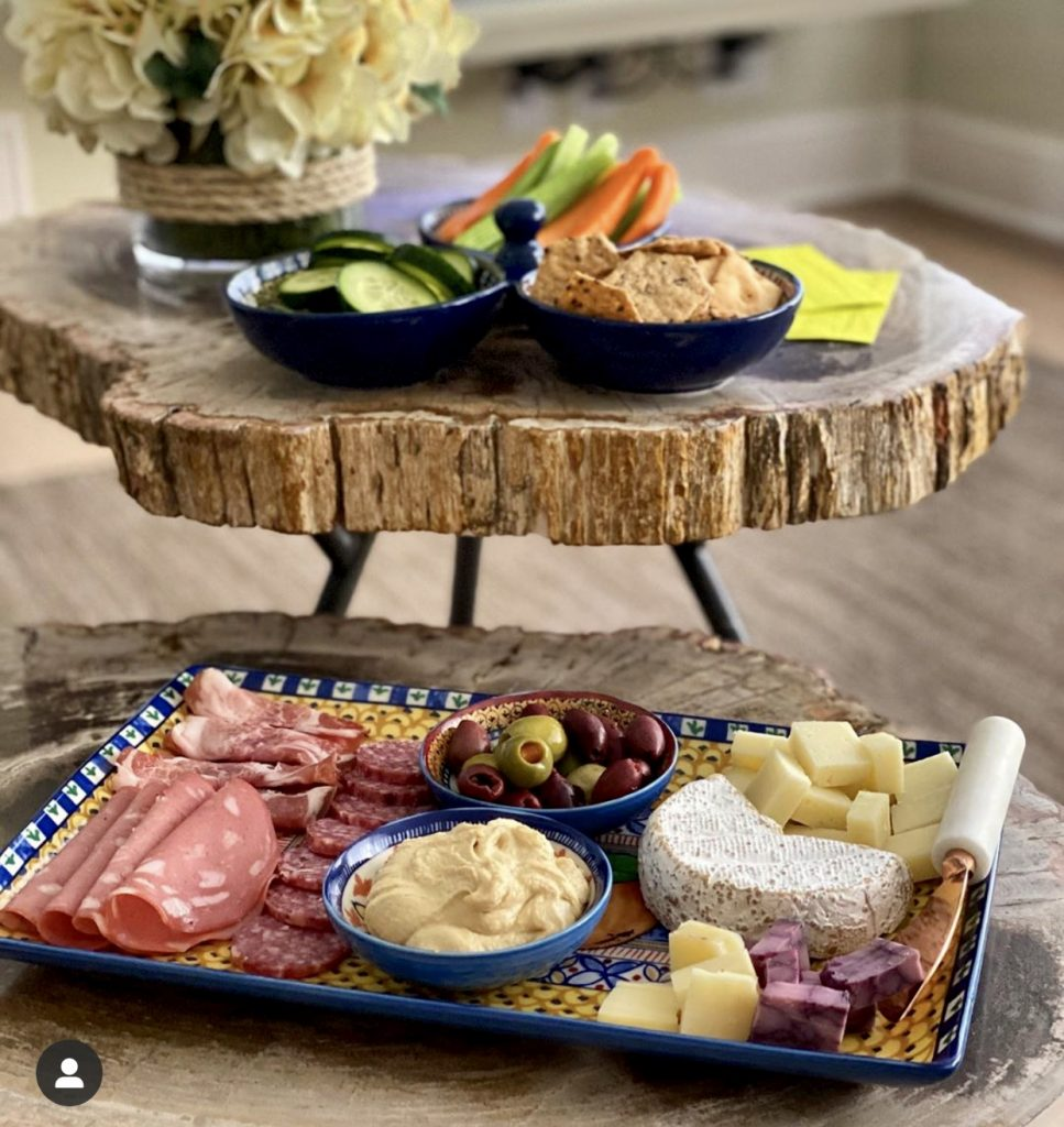 Mediterranean inspired serving pieces from Williams Sonoma are perfect for serving charcuterie.