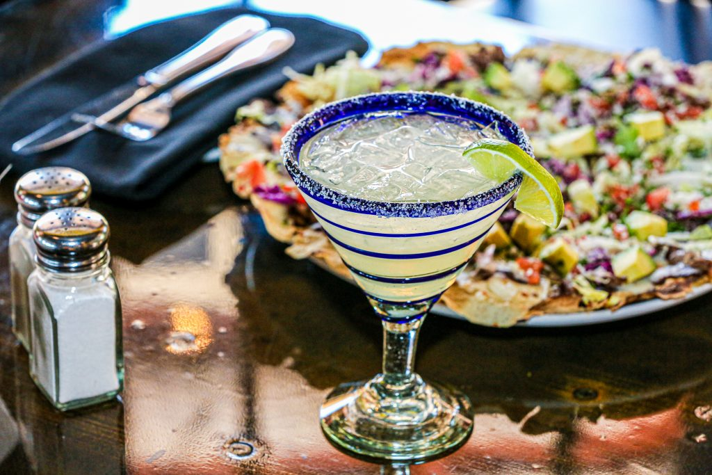Delish keto margarita and Mexican meal with a keto tequila cocktail