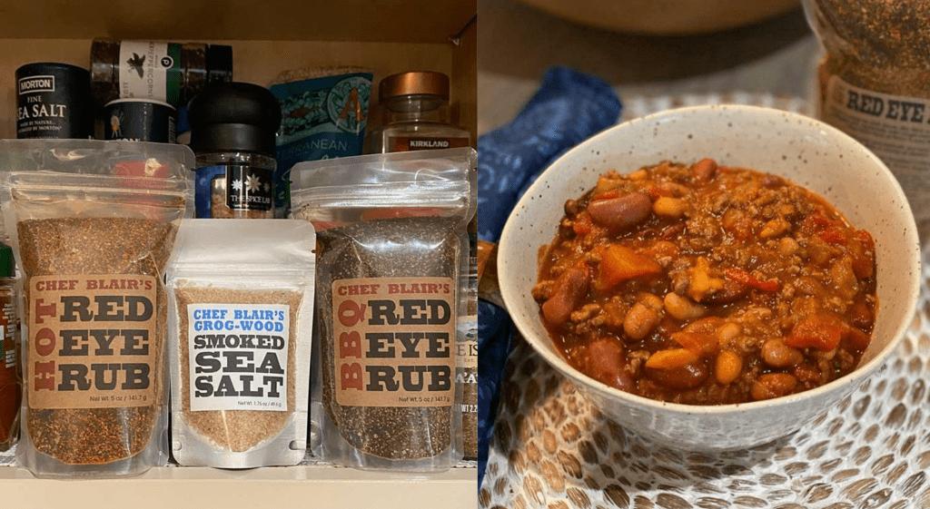 Chef Blair's seasonings and my chili!