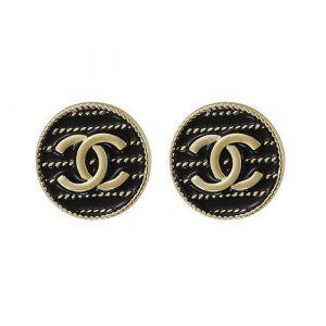 Black Enamel Gold Double C Stud Earrings