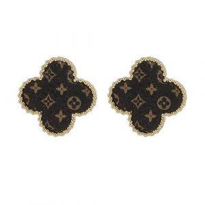 LV Leather Earrings Gold Beveled Edge