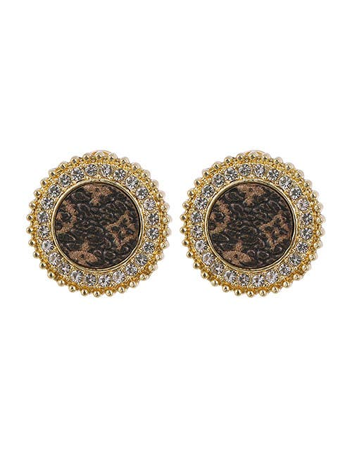 Round Gold Swarovski Leather Earrings