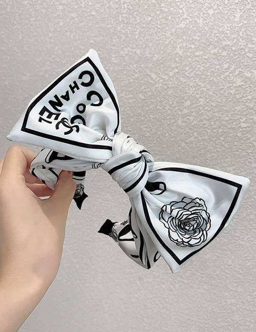 White Letter Printed Flower Bow Knot Satin Headband